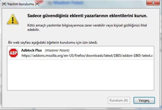 AdBlock Plus indirme onayı